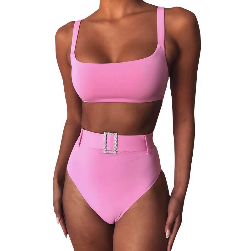 الدعاوى دفع النساء البيكينيات مجموعة الصلبة الخصر حزام شاطئ السباحة مثير حتى ملابس عالية الخصر الاستحمام الدعاوى الصيف أنثى السباحة 050519