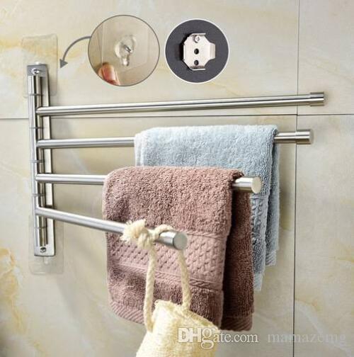 Ventas al por mayor envío gratuito ventas calientes cepillado níquel acero inoxidable autoadhesivo giratorio toalla Bar baño
