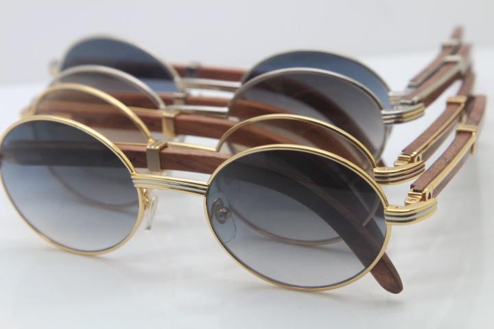 Atacado-Hot madeira Sunglasses Vintage Metal Material Unisex 7550178 óculos de sol de madeira Round Frame Tamanho: 57-22-135mm