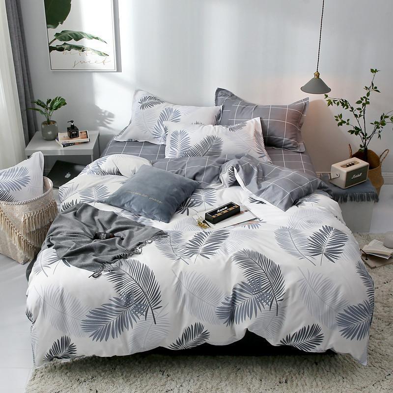 2019 White Feather Printed Bedding Set Pastoral Bed Linen Duvet Cover Set Bed Sheet Pillowcase A/B Version Bedding Sets 2019