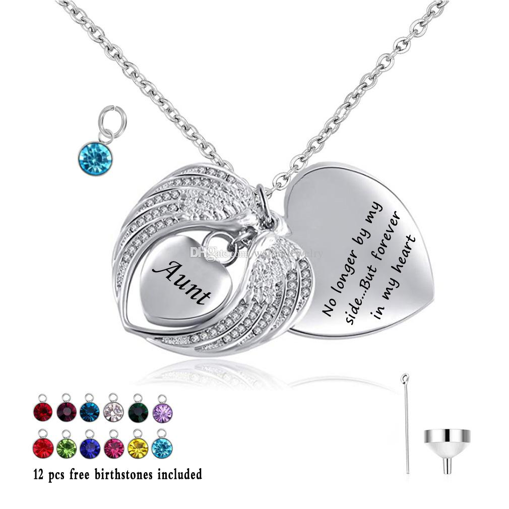 Cremation Jewelry Angel Wings Heart Urn Pendant Necklace for Ashes Birthstone crystal Keepsake Holder Memorial Jewelry