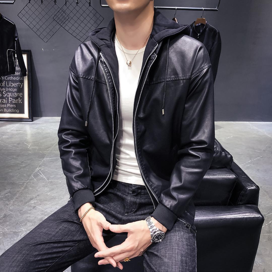 가죽 오토바이 재킷 남성 자전거 타는 남성 후드 코트 슬림핏 2019 겨울 코트 2 개 PC를 블랙 가죽 폭격기 재킷