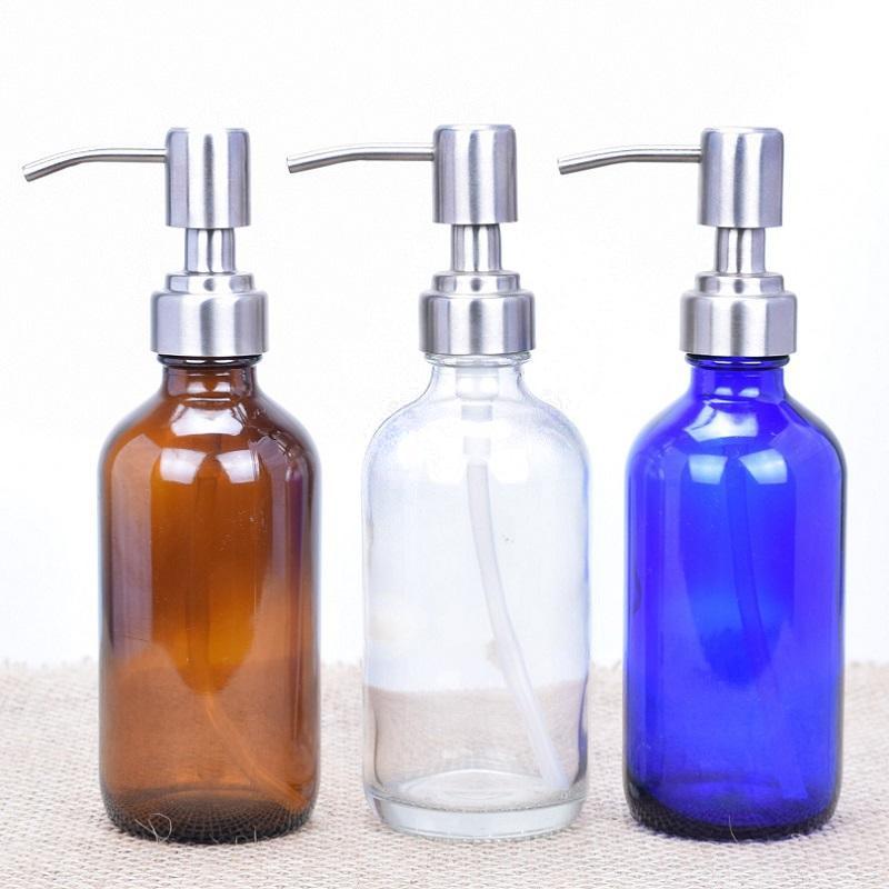 8 Ons Esansiyel Yağı için Paslanmaz Çelik Pompa Dispenser, Sabun Liquid, Losyon ile Cam Boston Pompa Şişeler boşaltın