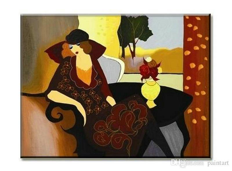 Itzchak Tarkay Figuration Empfang Kunstobjekte Moderne Senhora Porträt Handgemachte Ölgemälde auf Leinwand Konkav und Konvex Texture IT046