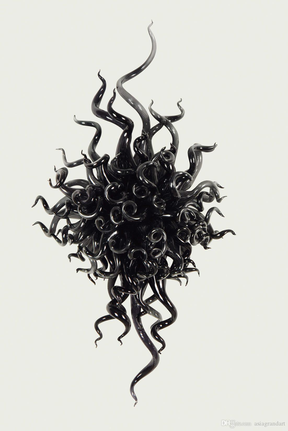 100 % 입 CE UL 붕규산 무라노 유리 데일 치 훌리 (Dale Chihuly) 예술 예쁜 검은 색 유리 샹들리에 장식 풍선