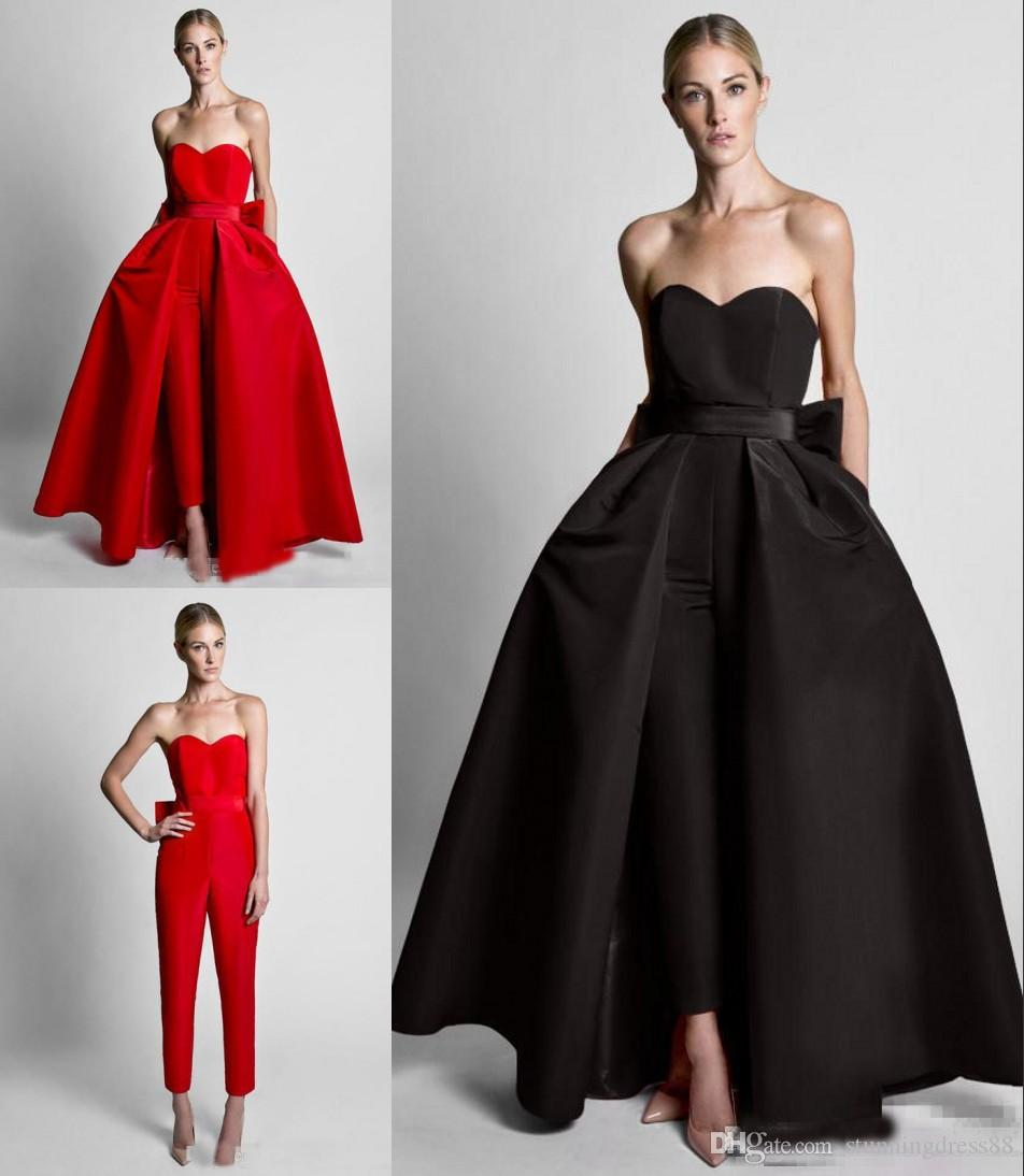 Fashion Red Detachable Train Evening Prom Dresses Cheap Jumpsuits Bows Sweetheart Simple Satin Pants Suits Wholesale Zuhair Murad