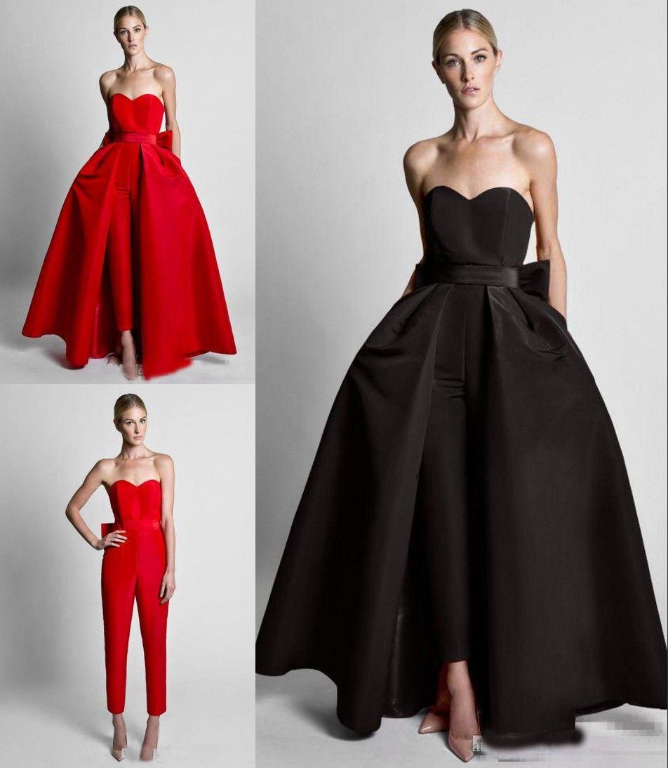 Fashion Red Detachable Train Evening Prom Dresses Cheap Jumpsuits Bows Sweetheart Simple Satin Pants Suits Wholesale Zuhair Murad