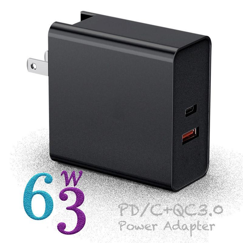 63W Caricabatterie PD 2Port USB Carica veloce QC3.0 Tipo C per interruttore MacBook Air PRO iPhone XR Caricabatterie da parete