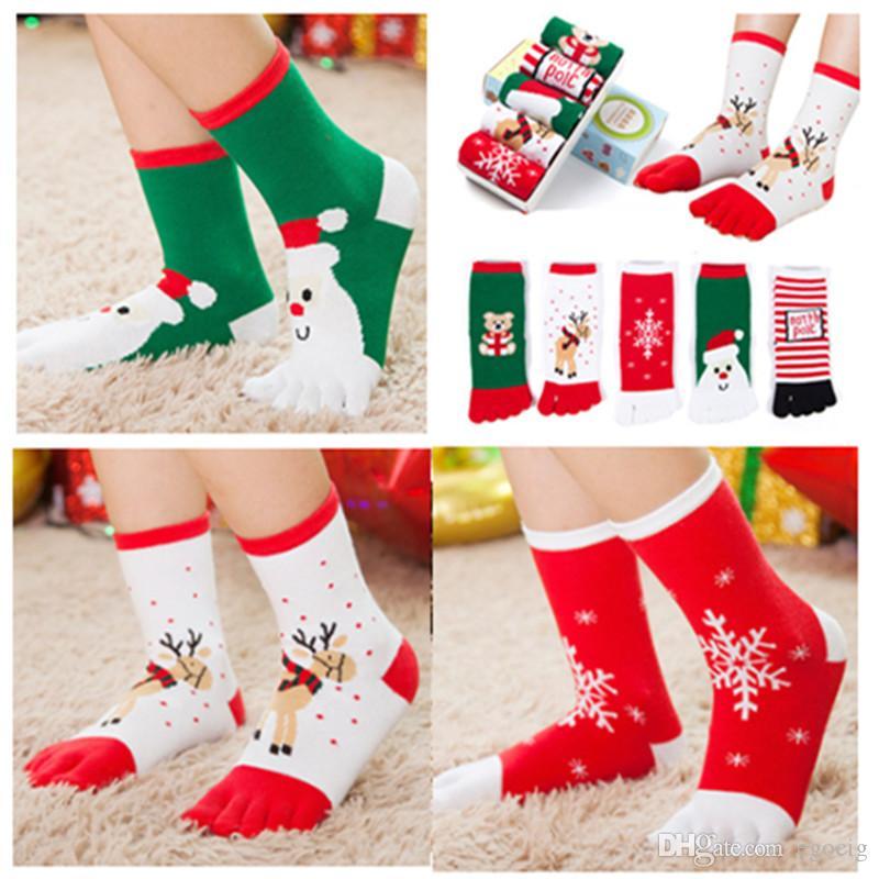 Natale calze piedi i bambini divertente cartone animato 3D Printed Five Fingers calzini pupazzo di neve Babbo bambini caldi mezzo polpaccio Lunga calza 5 colori