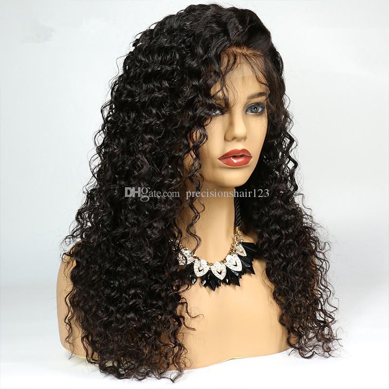 Полное Кружева Парики Человеческих Волос Для Чернокожих Женщин Глубокие Вьющиеся Бразильские Волосы Девственницы Плотность 130% Натуральные Волосы С Волосами Младенца