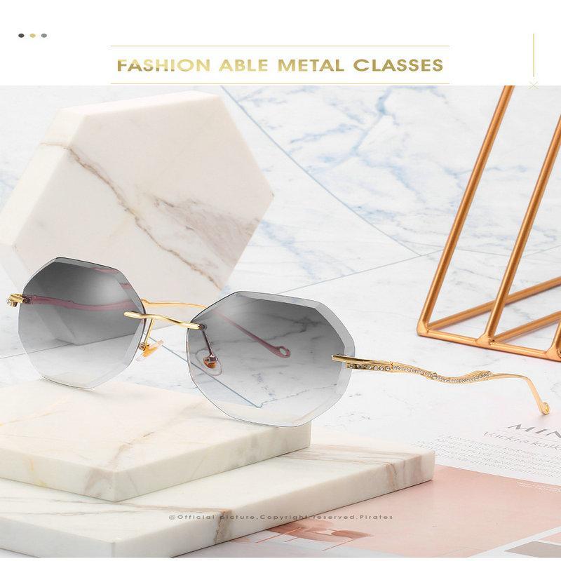 Frameless sunglasse Matrix Morpheus Runde Randlos Sonnenbrille Cosplay Props Männer Klassische Clamp Nose Sonne Gläser Mini Frameless Marke tRwn3