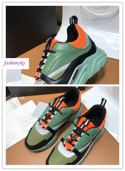 zapatos de cordones diseñador de las mujeres B22 zapatilla de deporte de las zapatillas de deporte de la vendimia Nens Lujo lona y piel de becerro Formadores top remiendo de los zapatos corrientes N64