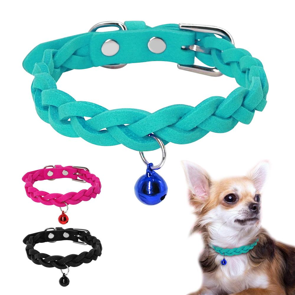Pelle scamosciata 5pcs piccolo cane del gatto Collare regolabile cucciolo dell'animale domestico del gattino della Bell Collare di Chihuahua Yorkshire Teddy Rosa XS S M