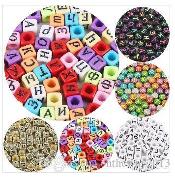Vsco Kız Mektup Bilezik Boncuk DIY Takı Aksesuarları El Yapımı Boncuklu Malzeme Akrilik Dijital çocuk Erken Öğrenme Mektubu Boncuk