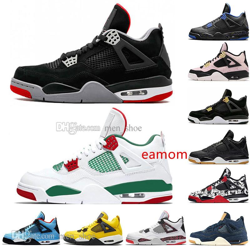 2019 Newest Bred 4 4s What The Cactus Jack Laser Wings Mens Basketball Shoes Denim Blue Pale Citron Men Sports Designer Sneakers Size 5.5-13
