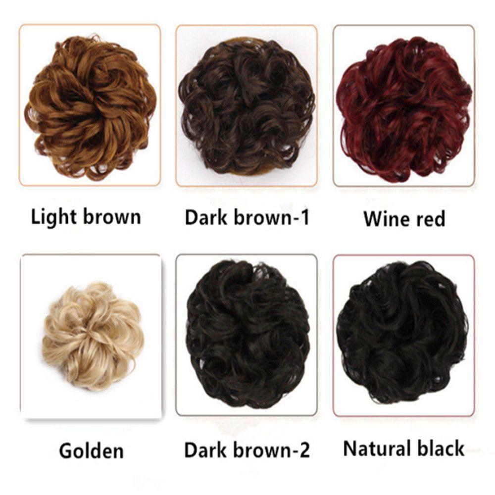 6 couleurs Mode bouclés Chouchou Chignon Élastique Blonde synthétique Anneau cheveux Wrap pour Chignon Ponytails résistant à la chaleur