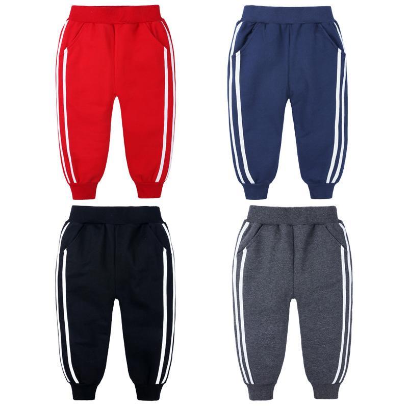 Fashion Sports Girls Boys Pants White Striped Candy Color School Cotton Spring Autumn Pant Leggings Trouser Children Kid Leggins B1