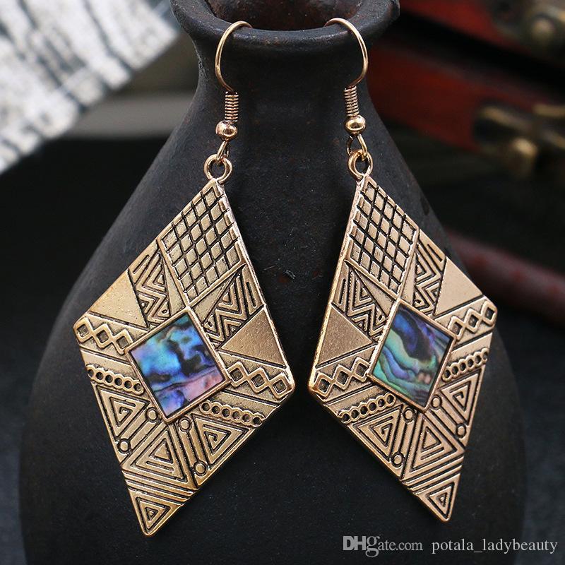Bohemia Vintage Rhombus Drop Earrings For Women Punk Antique Gold Silver Color Tibet Silver Geometry Hang Dangle Earring Woman Jewelry Gifts
