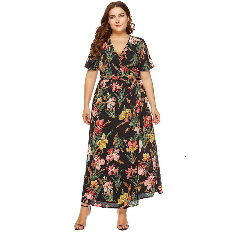 Femmes Sexy en mousseline de soie Robe d'été col en V profond Slim Fit Plus Size Belted Dress Xxxl 4XL 5XL 6XL Maxi long 2019