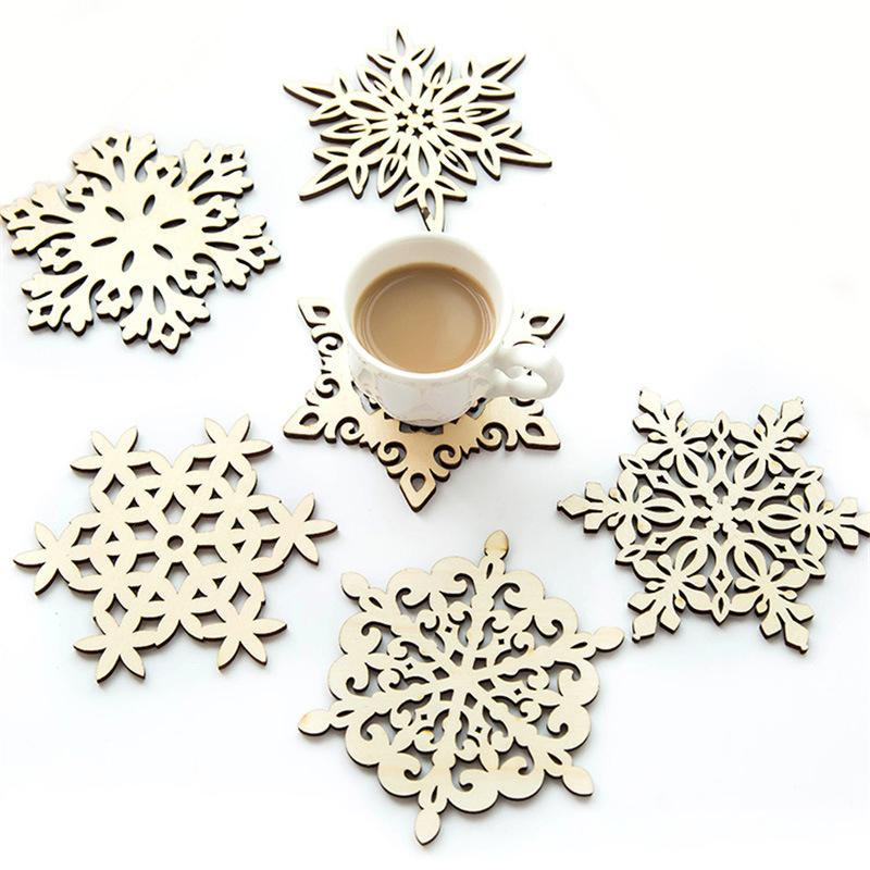 Wooden Snowflake Mug Coasters Holder Chic Drinks Coffee Tea Cup Mat Christmas Table Decoration Coaster Creative Hollow Cup Pads DBC BH3522