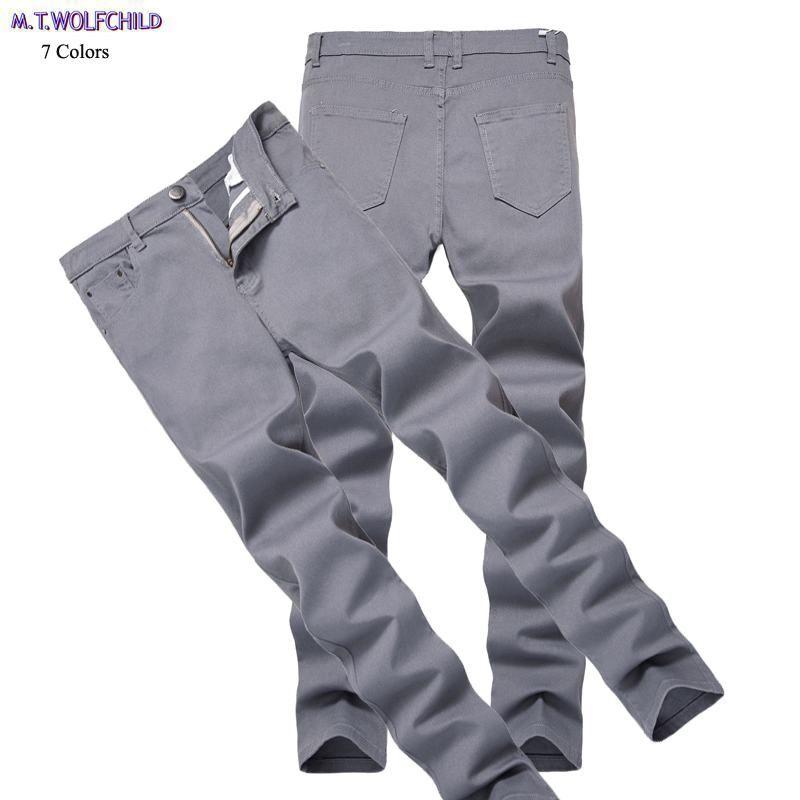 Envío gratis 2018 pantalones de mezclilla desgastados para hombre casual recto delgado elasticidad pantalones masculinos moda para hombre jeans 28-42