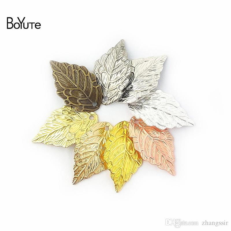 BoYuTe (200 Pieces/Lot) Metal Brass Stamping 10*18MM Leaf Charm Pendants DIY Floating Charms for Jewelry Making