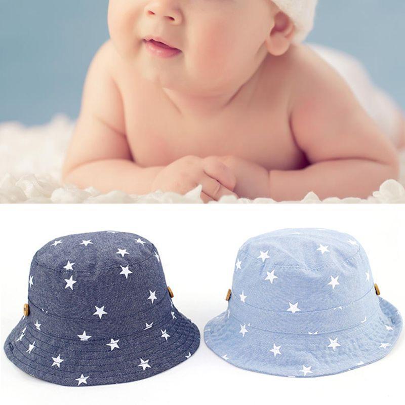 Cotton Baby Star Denim Imprimer Chapeau de soleil Printemps Eté Garçon Fille Protection du bassin Cap