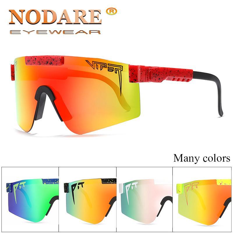 Novos óculos oversized polarizada espelhado lente vermelha quadro TR90 proteção UV400 Homens Esporte jararaca alta qualidade UV400 Y200619