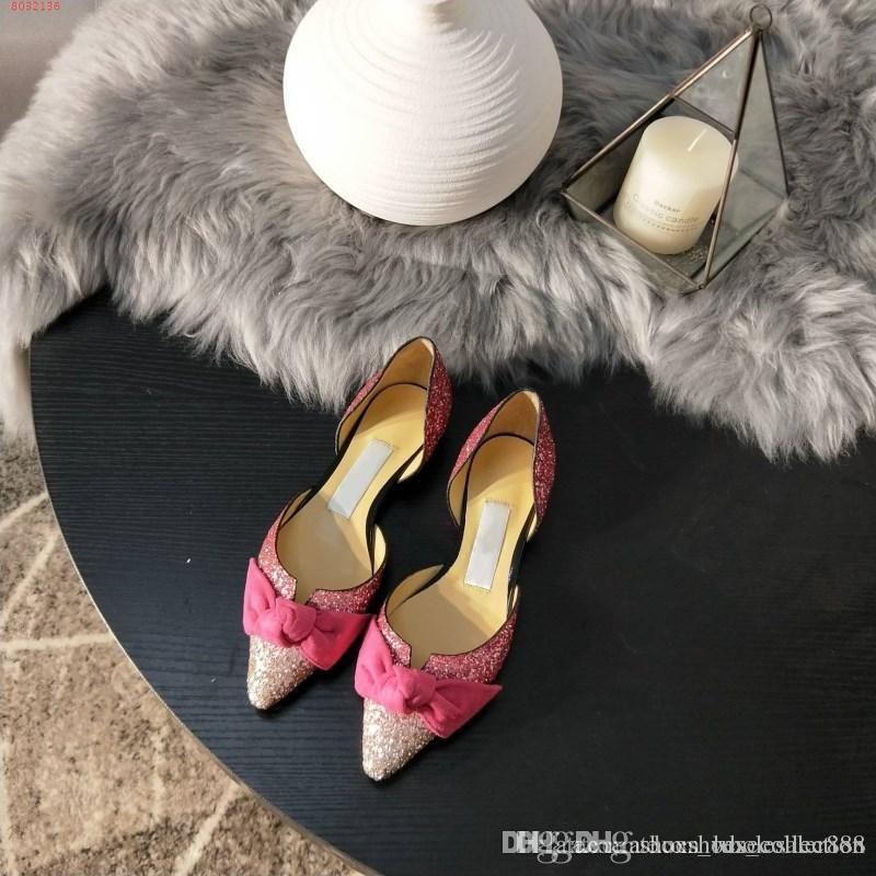 أحذية تلبيس منخفضة الكعب للنساء ، صنادل منخفضة الكعب مع التألق والأقواس الأنيقة ، حجم 34-39 ، حار بيع في