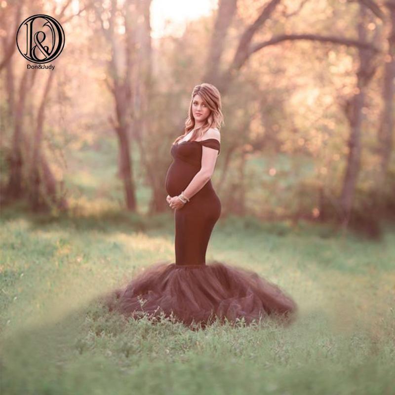 DJ Maternity Tulle Foto di Tulle Abito di maternità lungo Equipaggiata sirena fotografici Abiti da sposa Gown Dress