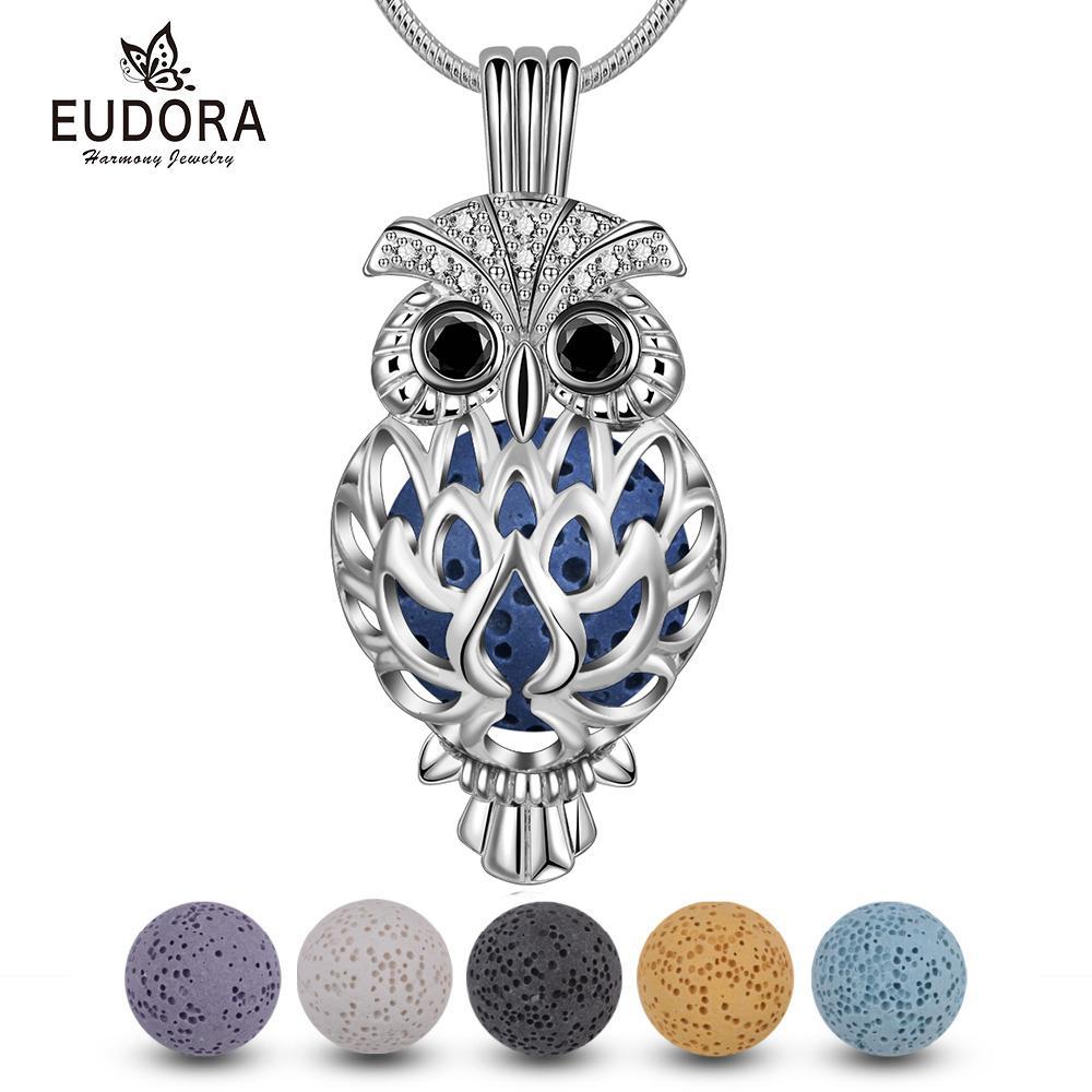 Eudora 14 Mm Gaiola Coruja Medalhão Pingente De Pedra Lava Perfume Aromaterapia Medalhão Difusor Colar Para As Mulheres Jóias Diy K332n14 J190519