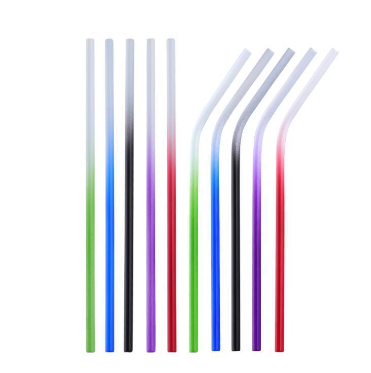 الفولاذ المقاوم للصدأ درجة حرارة اللون تغيير القش 210 * 6MM عازمة مستقيم قابلة لإعادة الاستخدام القش الشرب المعدنية 300pcs OOA7077