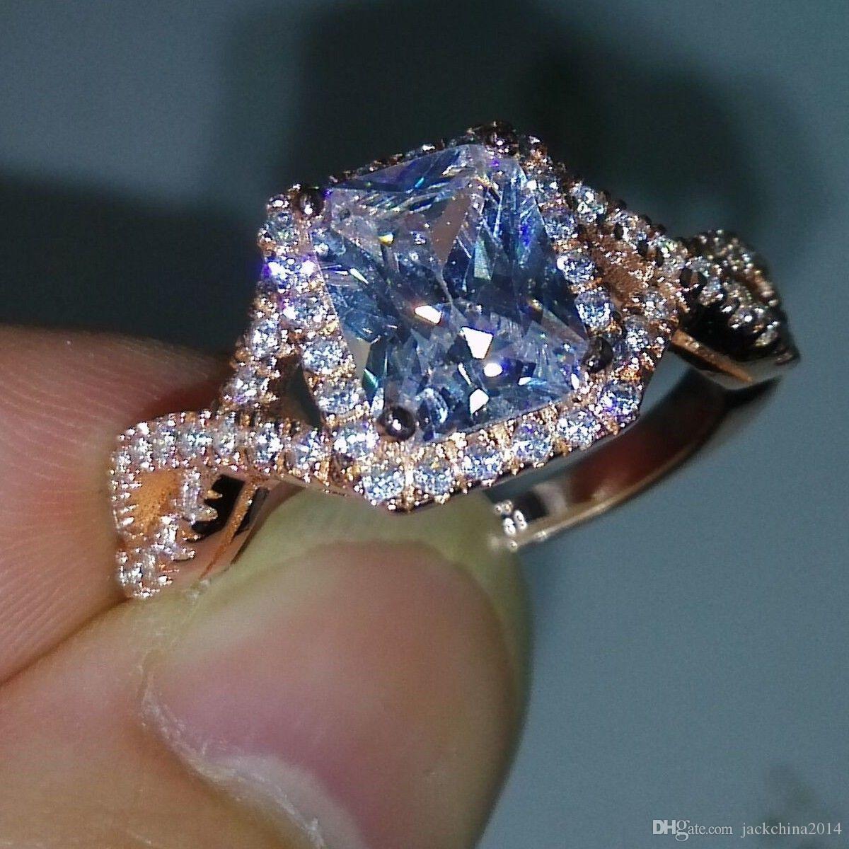 Großhandel Luxuxschmucksachen 925 Sterlingsilber Rose Vergoldet Prinzessin White Topaz CZ Diamant-Hochzeit Engagment Frauen-Band-Ring-Größe 5-11