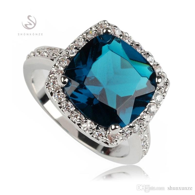 Shunxunze Exquisite Gifts Engagement Trouwringen Sieraden Accessoires voor Vrouwen Dropshipping Dark Blue Cubic Zirconia Rhodium Plated R620