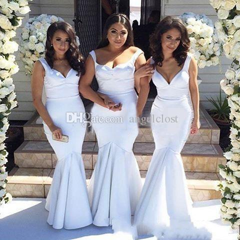 Simple White Mermaid Bridesmaid Dresses 2019 Spaghetti Sweetheart Floor Length Formal Wedding Guest Party Gowns Maid Of Honor Garden Cheap