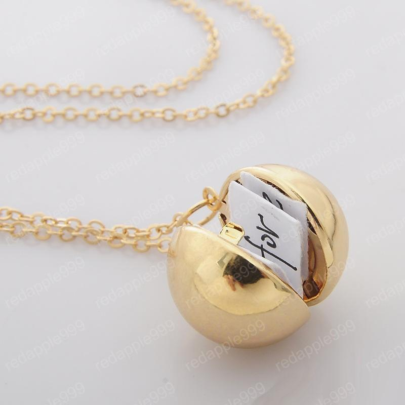 Smooth Ball Locket Fashion Secret Message Gold Silver Lockets Ball Cage Pendant Lovers Necklaces for Valentine's Day Gifts