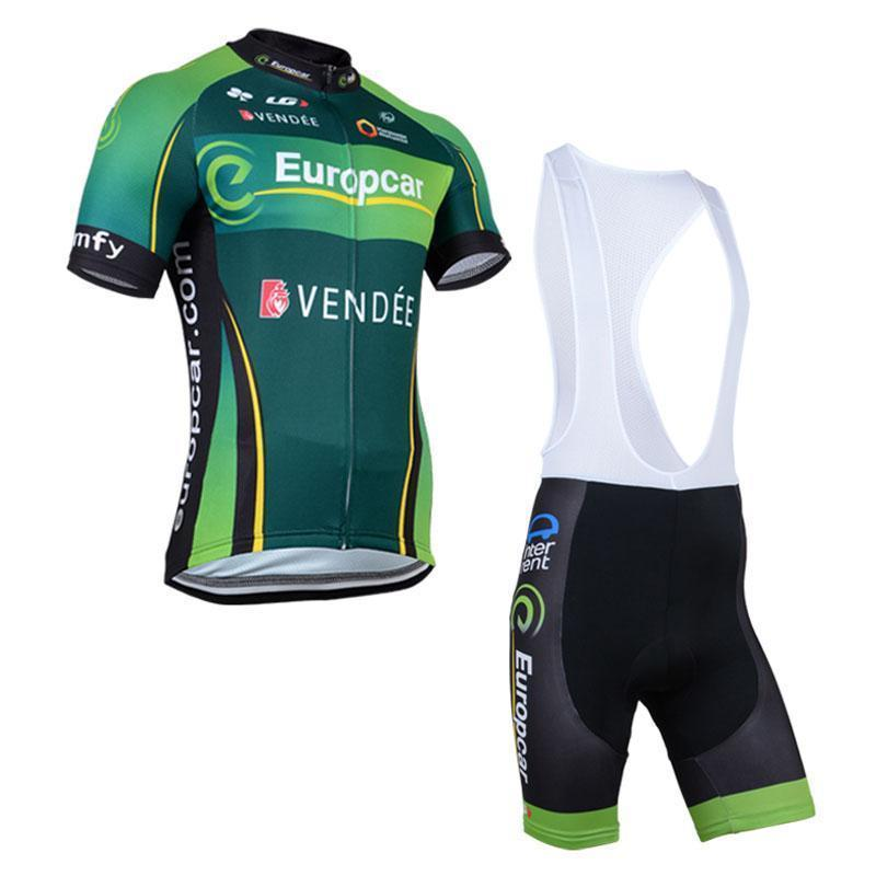 2020 New Europcar Team Cycling Jersey Stylish Short Sleeves Bike Bib Suit Men Summer Cycling Tops Padded Gel Shorts Kit L2003