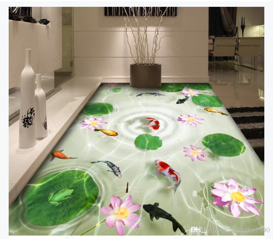 Пользовательские 3D фото самоклеющиеся ПВХ настенные росписи обоев 3D лотоса рыбы шаблон воды спальня ванная комната водонепроницаемый пол живопись наклейки