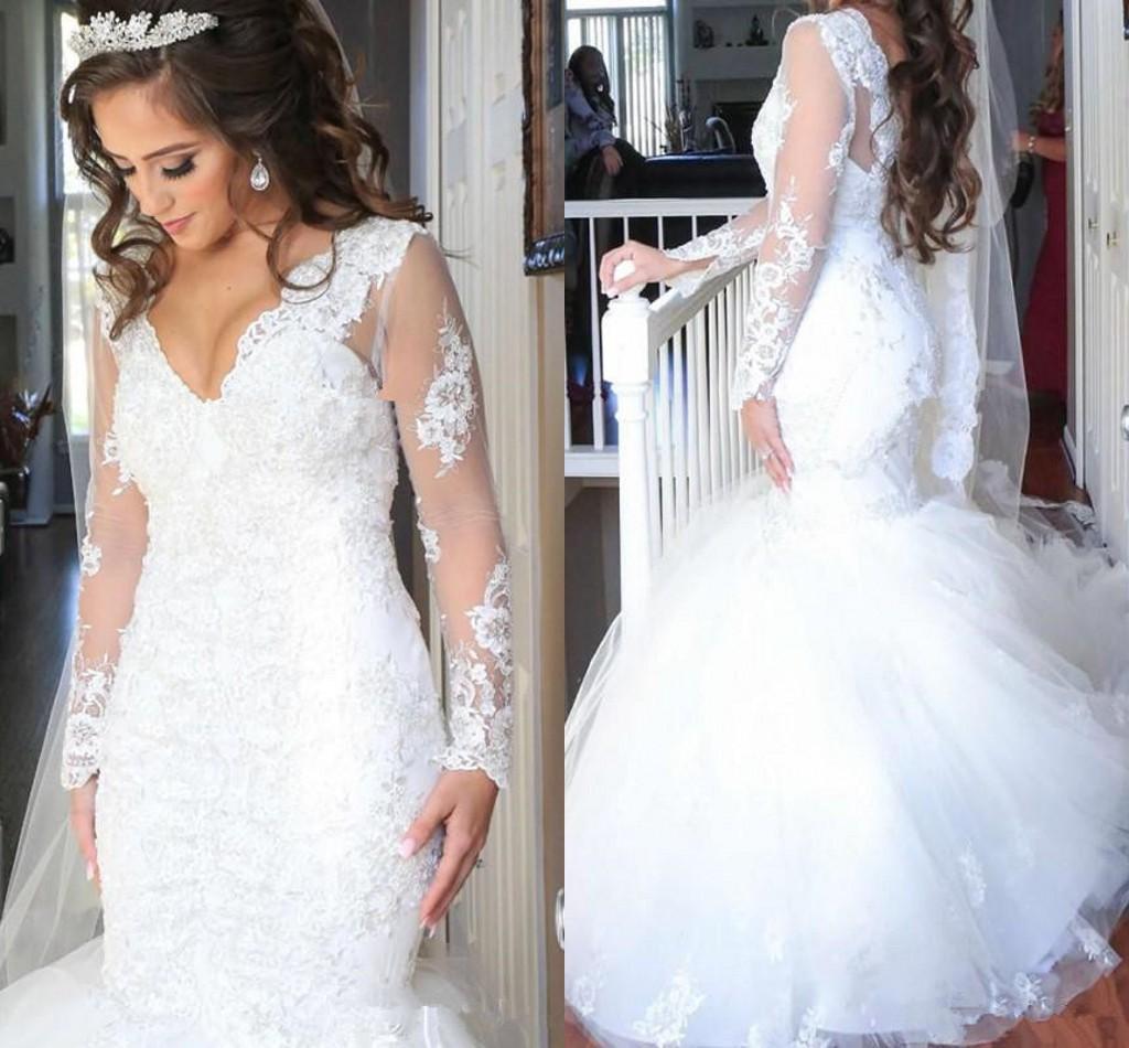 Sereia 2019 Mangas Compridas Lace Vestidos de Casamento sul africano Lantejoulas Beading Luxo Dubai Árabe Lace Novia plus size castelo Vestidos de Noiva
