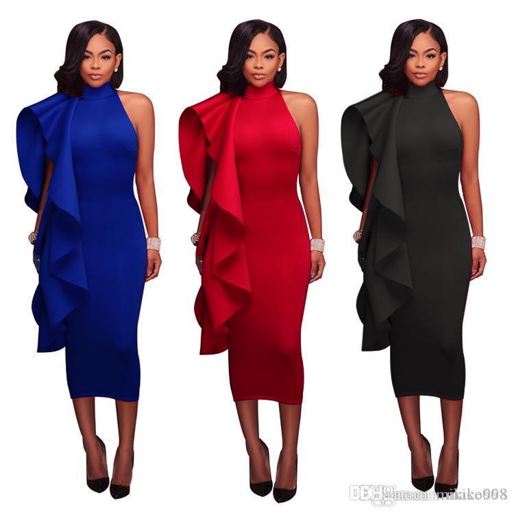 Damenkleid in Volltonfarbe, Damenlotusblattrand, mittellanges, hochgeschlossenes, ärmelloses, sexy, enges modisches Kleid