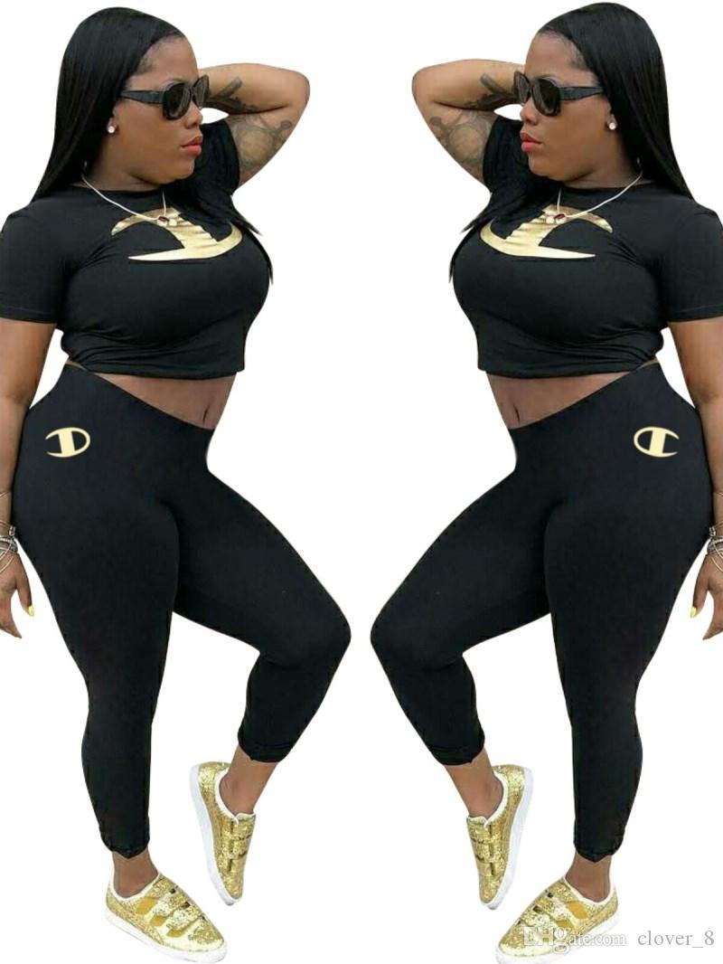 Damenmode kurze Ärmel Outfits 2-teiliges Set Trainingsanzug Jogging sportsuit Hosen Strumpfhosen Sportklage Frauen Kleidung klw0716 Sweatshirt