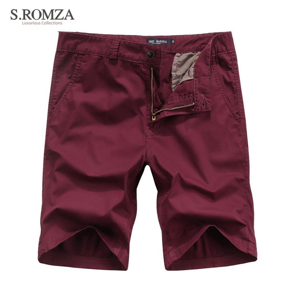 S. ROMZA мужские летние горячие шорты повседневная Англия стиль Slim Fit прямые средние шорты размер 30 32 34 36 38 40