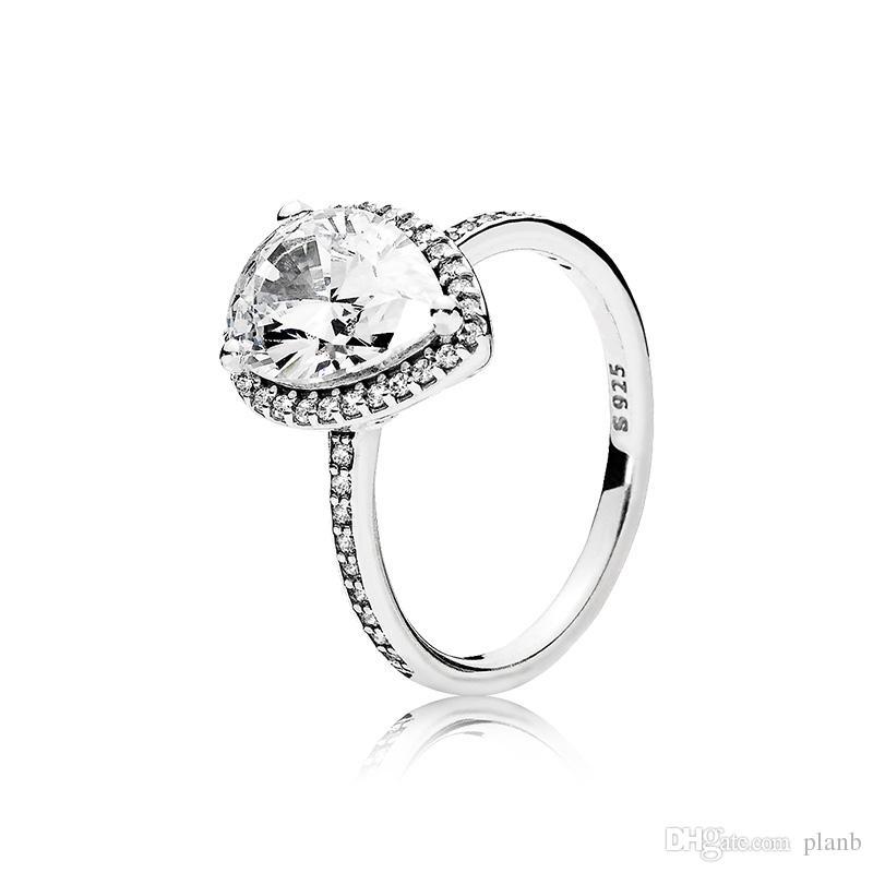 حقيقي 925 فضة المسيل للدموع قطرة تشيكوسلوفاكيا خاتم الماس مع الشعار والأصل مربع صالح باندورا خاتم الزواج مجوهرات الخطبة للنساء