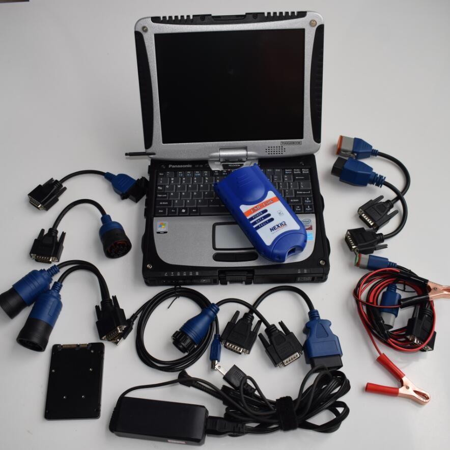 NEXIQ USB LINK 2 Scanner de diagnostic de camion robuste 125032 avec ordinateur portable CF19 Écran tactile Super SSD Câbles complets