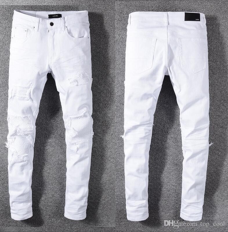 Compre Tops Para Hombre Fold Skinny Jeans Blancos Tamano Grande Disenador De Moda Plisado Paneles Slim Fit Pintado Denim Pantalones Streetwear 592 A 46 82 Del Top Cool Dhgate Com