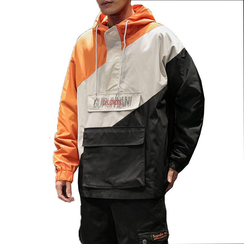 2019 nuovi Sping Giacche Uomo Patchwork rivestimento di modo di Hip Hop Plus Size College Student Windbreaker cappotto degli uomini di Hood Jacket M-5XL LY191206