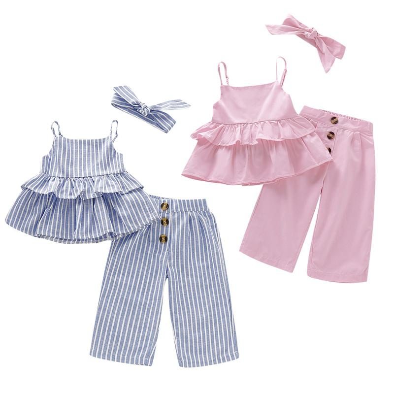 Mikrdoo Kids Baby Girl Cute Clothes Set Striped Strap Tutu Top + Pant with Headband Solid Color 3PCS Sweet Outfit
