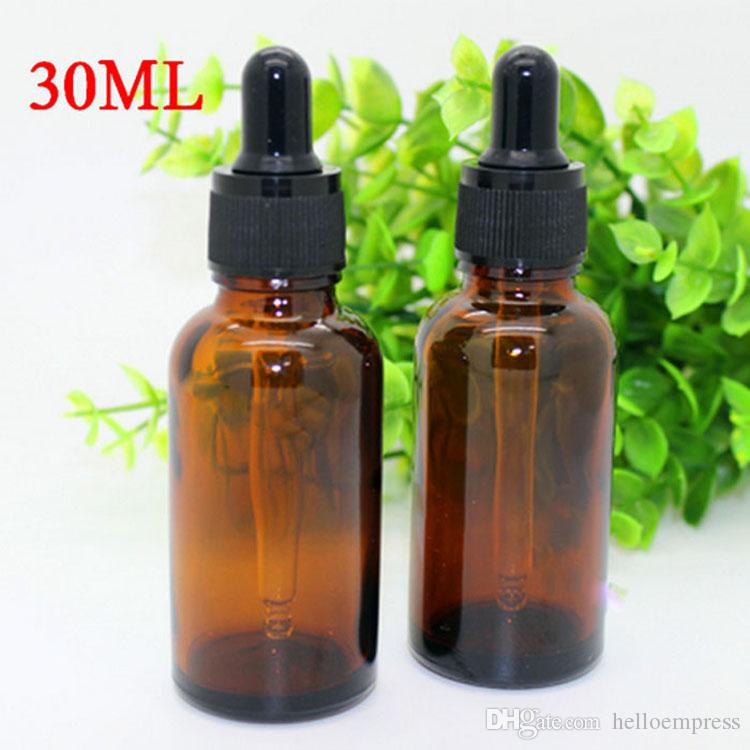 Âmbar garrafas de vidro vazias 10ml 15ml 20ml 30ml Aromaterapia Frasco de petróleo essencial recarregáveis Conta-gotas Com No Tampão preto Stock