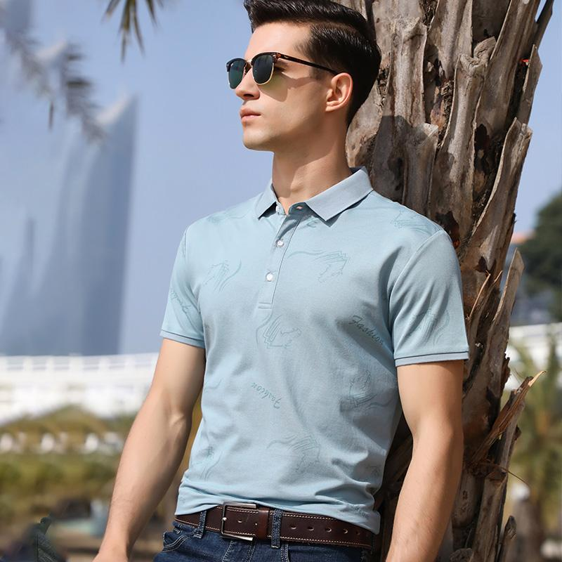 Alto grado de seda de hielo suelto de la moda de manga corta camiseta solapas de la camisa de los hombres del verano Jacquard hombres ocasionales camiseta