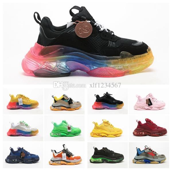 New Paris triplo S 3 Luxo casas Designers Sneakers Chaussures Homens Mulheres Plataforma de fitness Casual almofada Air sapatos do pai com sola de cristal